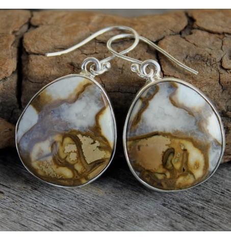 Bijoux ethnique boucles d'oreilles argent jaspe shantilight