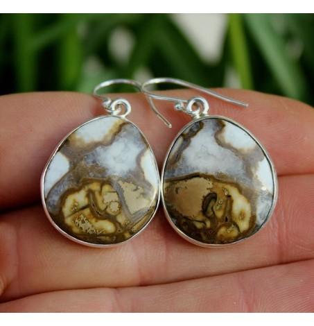 Boucles d'oreilles argent bijoux ethnique pierres de jaspe shantilight