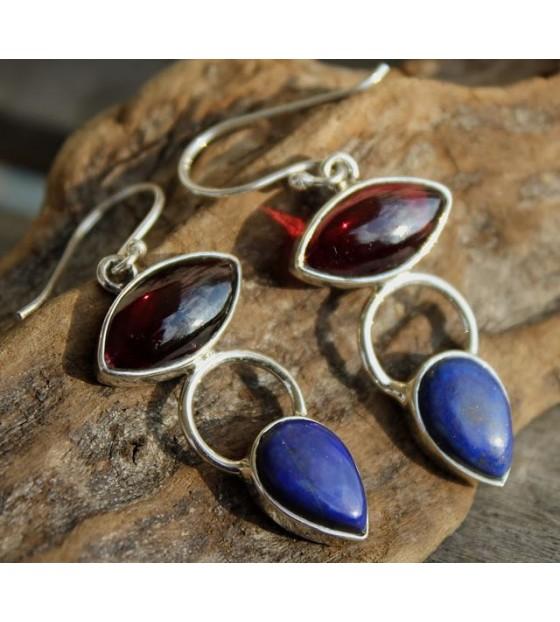Boucles d'oreilles ethniques pierres naturelles shantilight