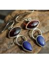 Bijoux moderne boucles d'oreilles argent grenat lapis lazuli shantilight