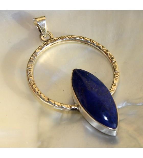 Bijoux argent pendentif pierre lapis lazuli shantilight