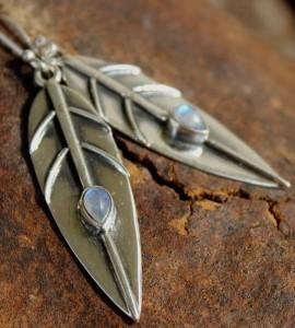 Bijoux ethnique boucles d'oreilles pierre de lune shantilight