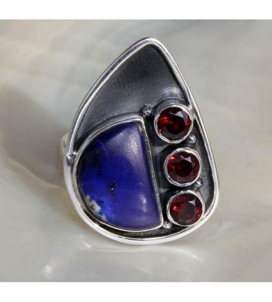 Bijoux ethnique bague argent lapis lazuli Shantilight