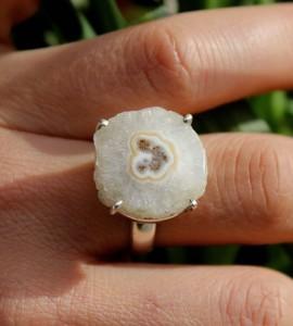 Bague argent pierre brute quartz solaire Shantilight