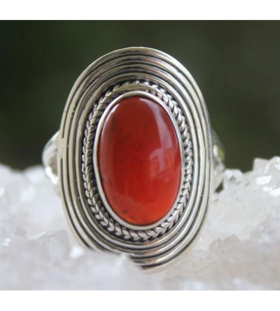 meilleur site web e07e2 6689f Bijoux ethnique bague argent pierre naturelle de cornaline à Caen:  shantilight