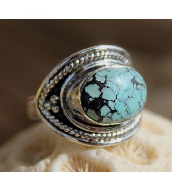 Bague ethnique argent pierre naturelle turquoise Shantilight