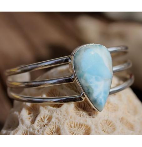 Bracelet argent joncs bijoux chic pierre naturelle larimar Shantilight