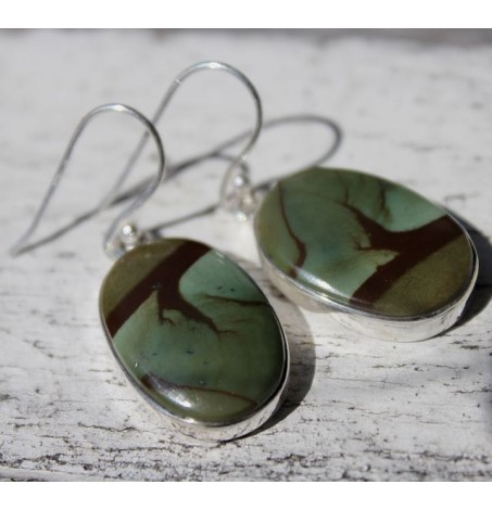 Boucles d'oreilles argent bijoux ethnique pierre jaspe polychrome Shantilight