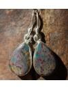 Boucles d'oreilles argent pierre naturelle agate de sang shantilight