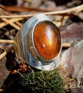 Bague argent bijoux moderne ambre shantilight