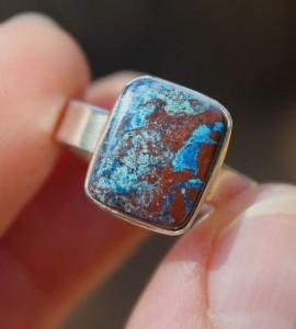 Bague argent pierre de jaspe bleu shantilight