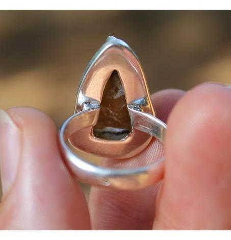 Bague ethnique bijoux argent pierre naturelle brute agate shantilight