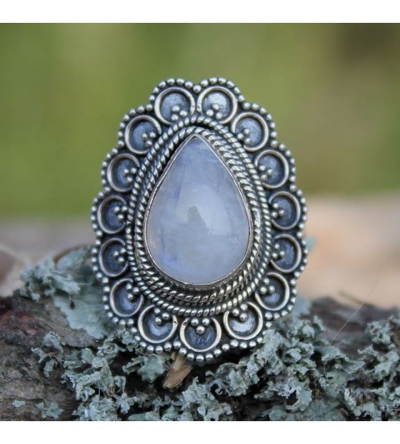 Bague argent bijoux indiens pierre de lune shantilight