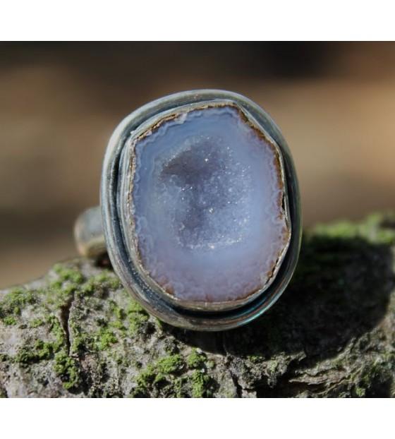 Bague pierre brute calcédoine bijoux shantilight