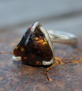 Bague ethnique pierre naturelle agate de feu shantilight