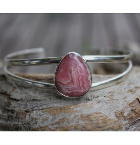 Bracelet argent jonc pierre naturelle rhodochrosite Shantilight