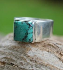 Bague argent bijoux homme turquoise shantilight