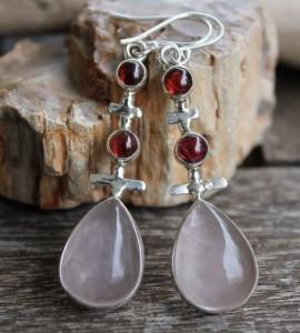 Boucles d'oreilles argent grenat quartz rose shantilight