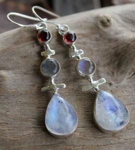 Boucles d'oreilles argent grenat labradorite pierre de lune shantilight