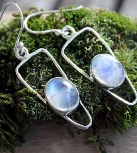 Boucles d'oreilles argent pierre de lune shantilight
