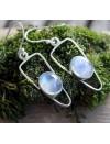 Boucles d'oreilles argent symetrik pierre de lune arc en ciel shantilight