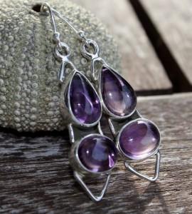 Boucles argent bijoux pierre améthyste shantilight