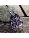 Boucles d'oreilles argent oxydé bijoux pierre naturelle améthyste shantilight
