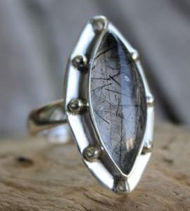 Bague ethnique bijoux argent quartz rutilé Shantilight