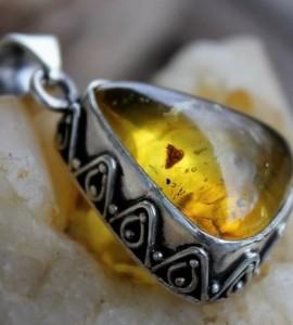 Pendentif argent bijoux ambre shantilight