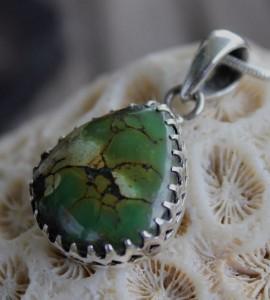 Pendentif ethnique bijoux argent turquoise shantilight
