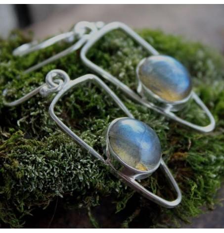 Boucles d'oreilles argent symetrik pierres naturelles labradorite Shantilight