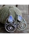 Boucles d'oreilles argent ciselé bijoux ethnique pierre de lune Shantilight