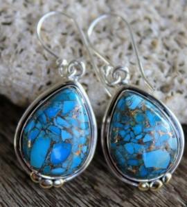 Boucles d'oreilles argent bijoux turquoise Shantilight