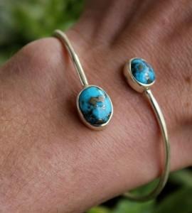 Bracelet jonc argent turquoise Shantilight
