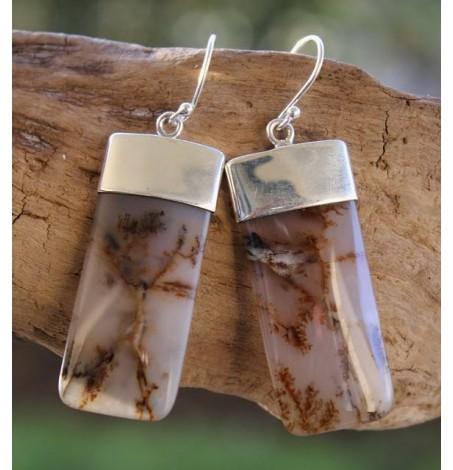 Boucles d'oreilles argent bijoux caps agate dendritique shantilight