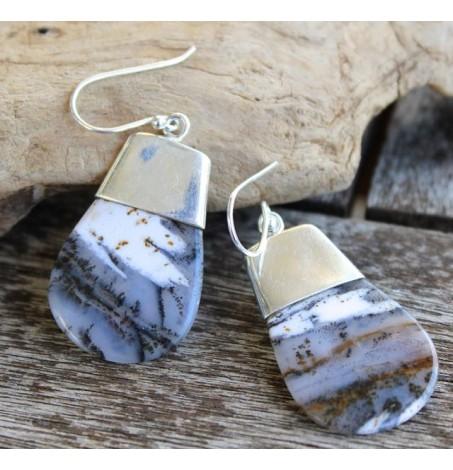 Boucles d'oreilles argent caps bijoux ethniques pierre naturelle shantilight