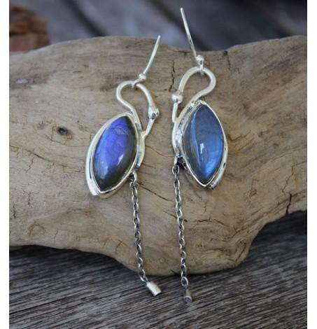 Boucles d'oreilles argent bijoux pierres naturelles de labradorite Shantilight