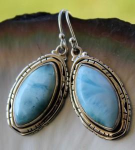 Boucles d'oreilles pierres larimar shantilight