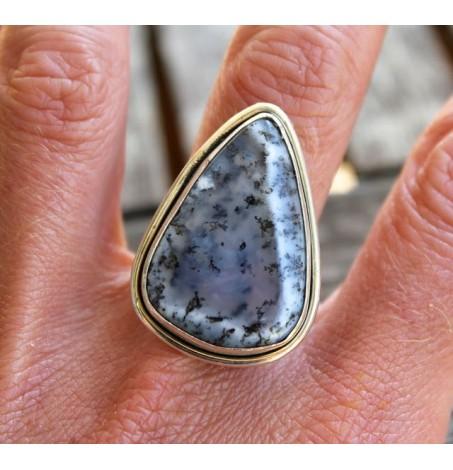 Bague ethnique bijou argent épuré pierre agate dendritique Shantilight