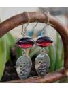 Boucles d'oreilles ethniques bijoux pierres naturelles grenat shantilight