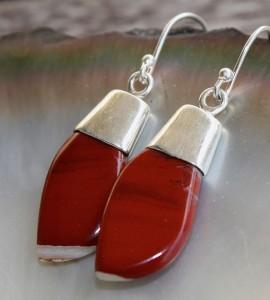Boucles d'oreilles argent jaspe rouge shantilight