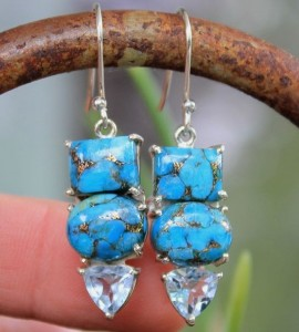 Boucles d'oreilles argent turquoise aigue marine