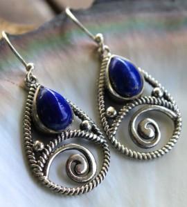 Boucles d'oreilles argent et lapis lazuli shantilight