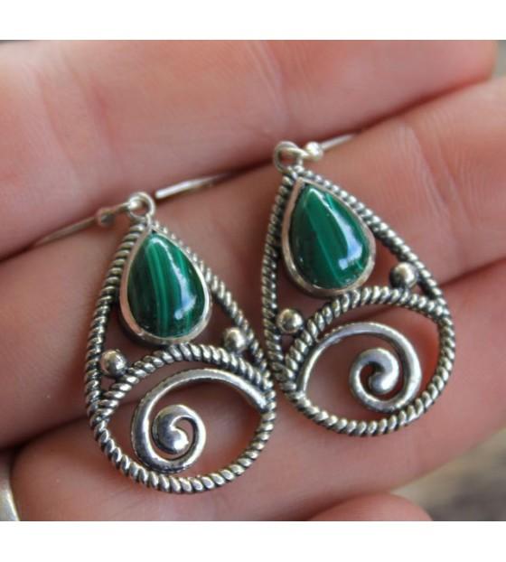 boucles d'oreilles argent bijou pierres malachite shantilight