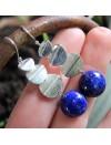 Boucles d'oreilles sequins d' argent brossé pierres naturelles lapis lazuli