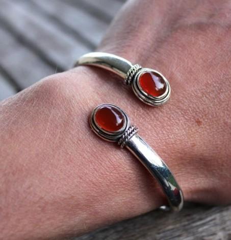 Bracelet argent bijoux ajustables pierres cornaline Shantilight