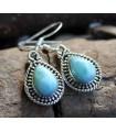 Boucles d'oreilles argent bijoux ethnique pierres naturelles larimar