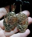 Boucles d'oreilles ethniques bijoux boho laiton skull Shantilight