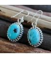 Boucles d'oreilles pierres naturelles turquoise bijoux argent Shantilight