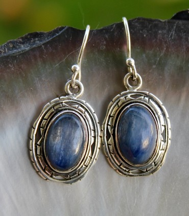 Boucles d'oreilles pierres naturelles cyanite bijoux argent Shantilight
